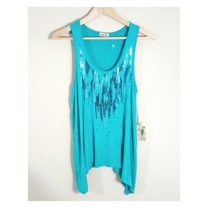 ONE WORLD Aqua Tank with Sequin Detail, NWT